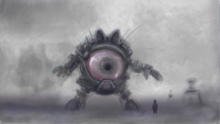 picture of a gigantic robo mecha eye coming out of mist and checking out a person in a stripey top